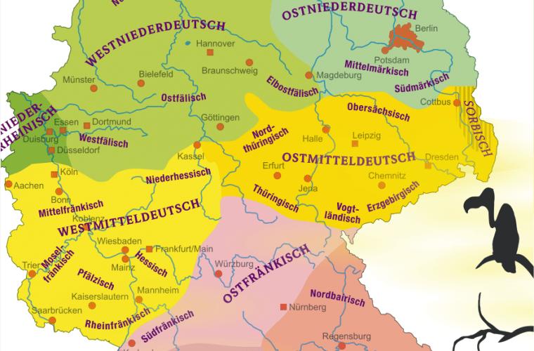 Mapa de dialectos en Alemania